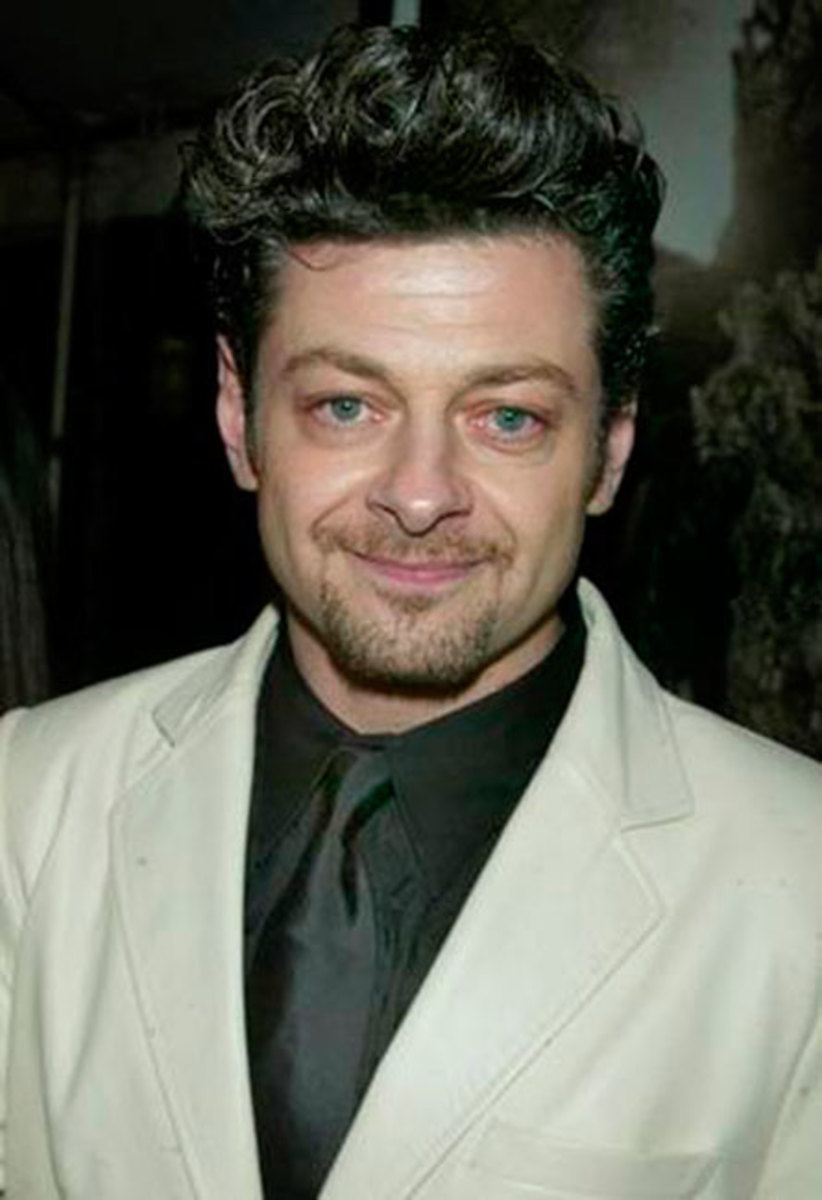 Andy Serkis hair with full of curls on top.