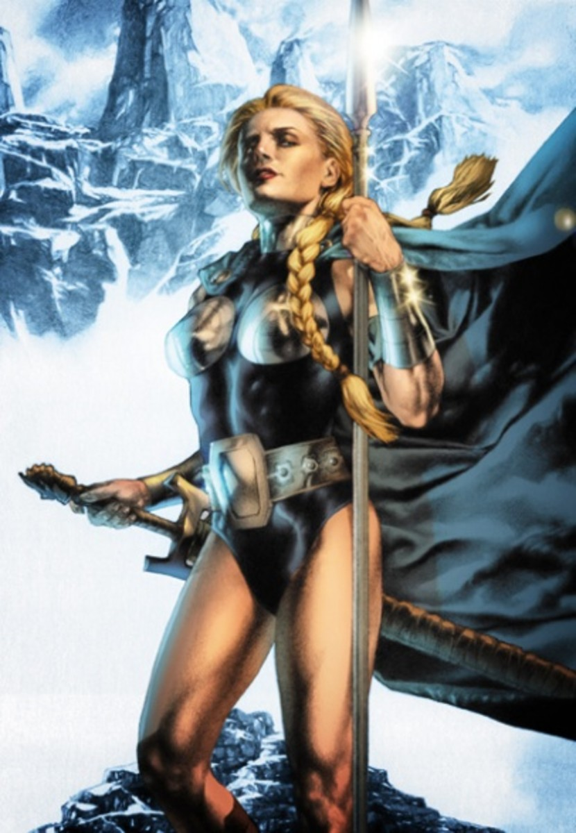 And who's to say the goddess wouldn't have looked like this? They had to get the punters in, didn't they? What red-blooded Viking would have been overjoyed to see some frump come to take him to Valhol?