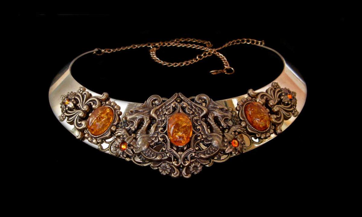The Brisingamen - Brising neck-piece or necklace made by the dwarves Alfrigg, Dvalin, Berling and Grerr  in their underworld smithy - she had to submit to being  bedded by each in turn in order to gain the necklace