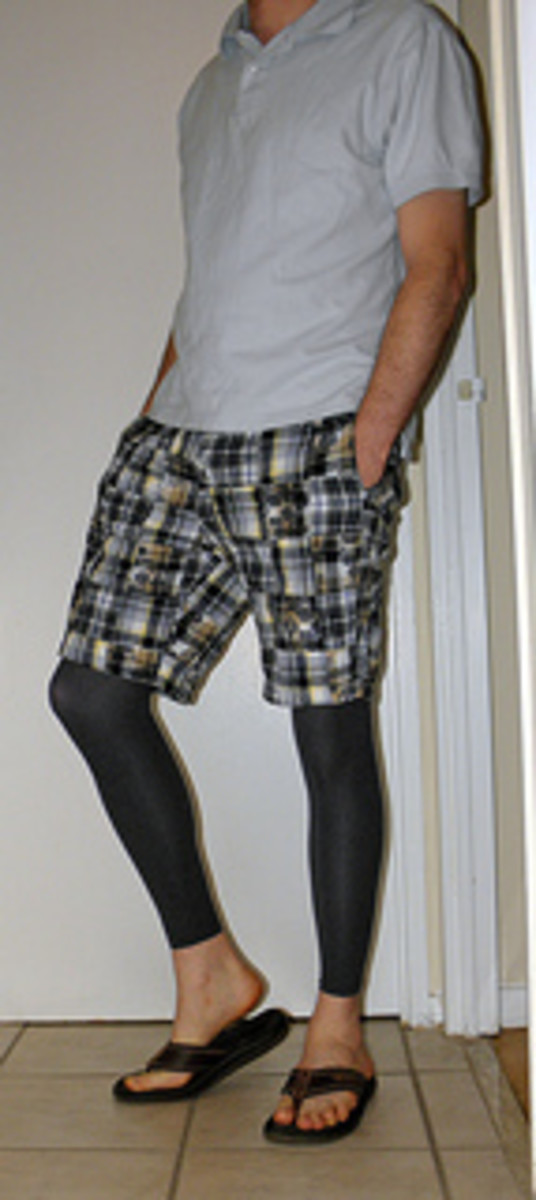 Blue footless tights worn under pattern shorts.
