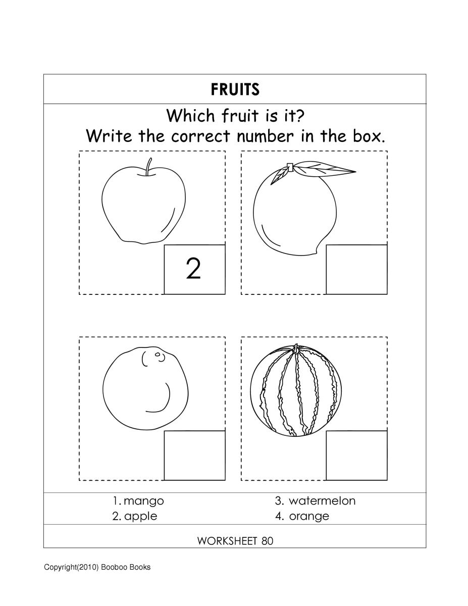Fruits & Vegetables worksheets -  to recognize  fruits from their outline pictures