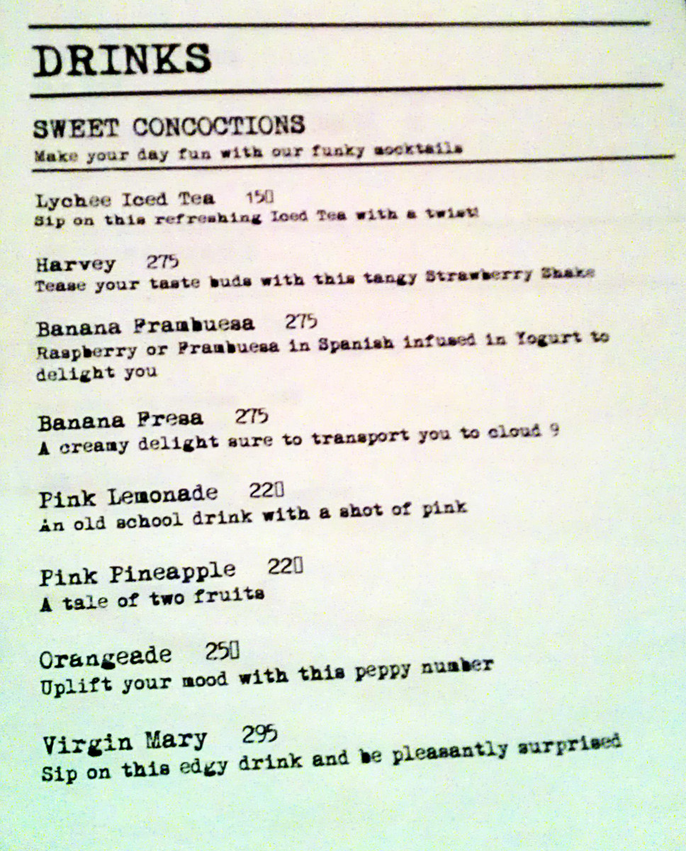 Drinks menu - bit inflated