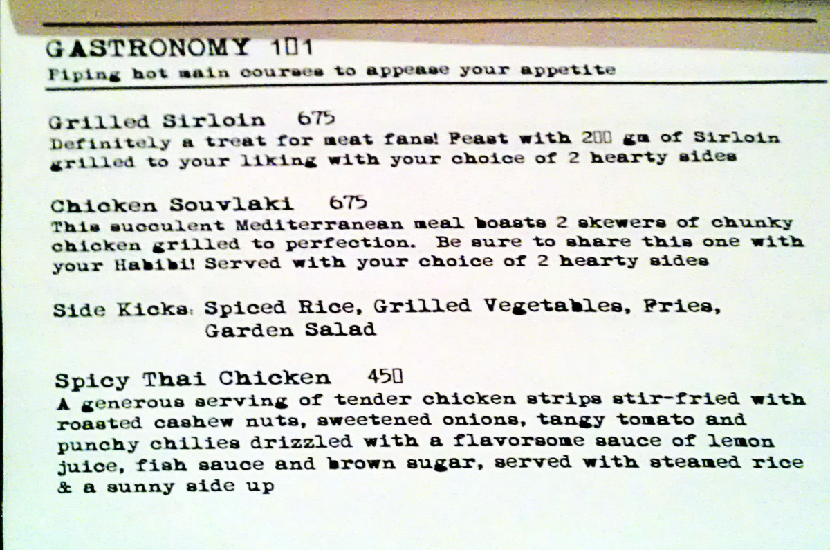 The main course menu - needing more variety