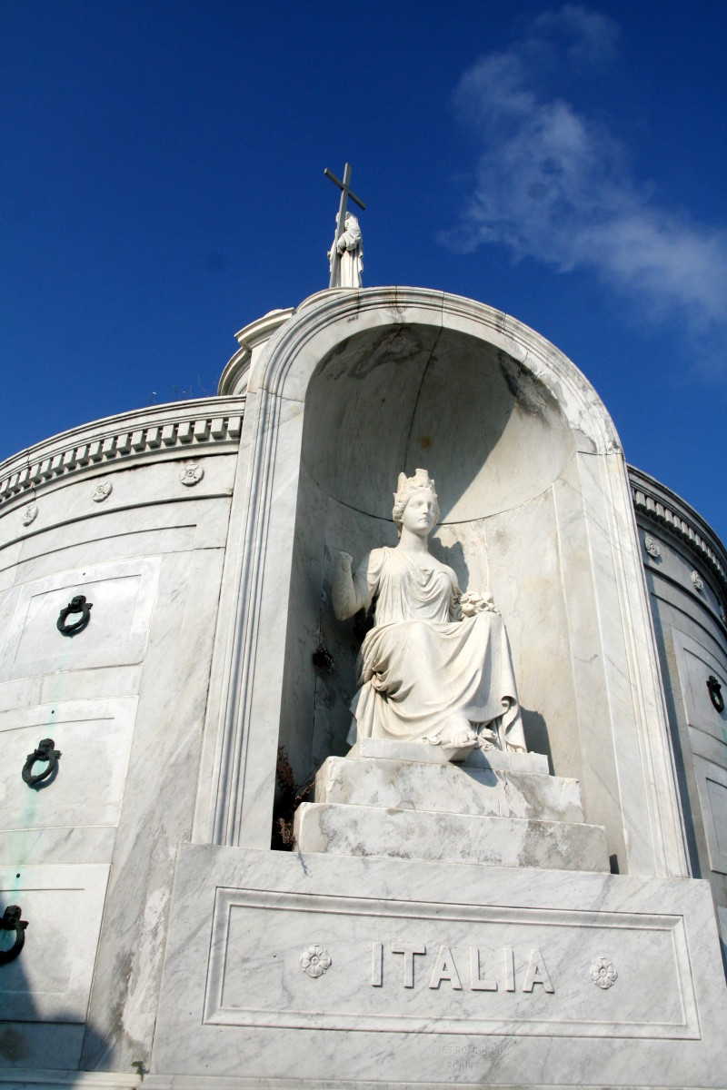 One of the most elaborate society tombs in the city is in St. Louis No. 1- the Italian Mutual Benevolent tomb