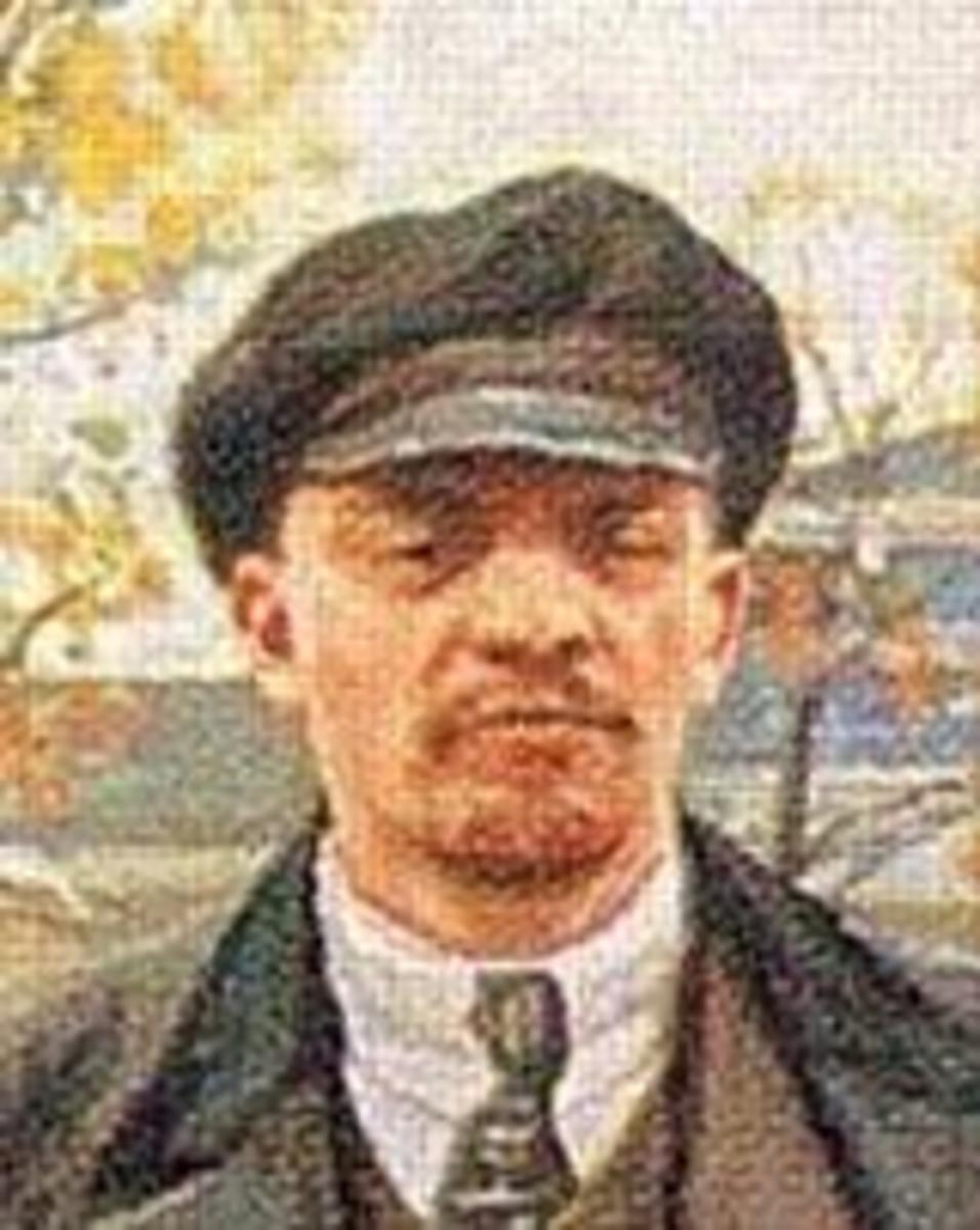 A painting of Vladimir Lenin.