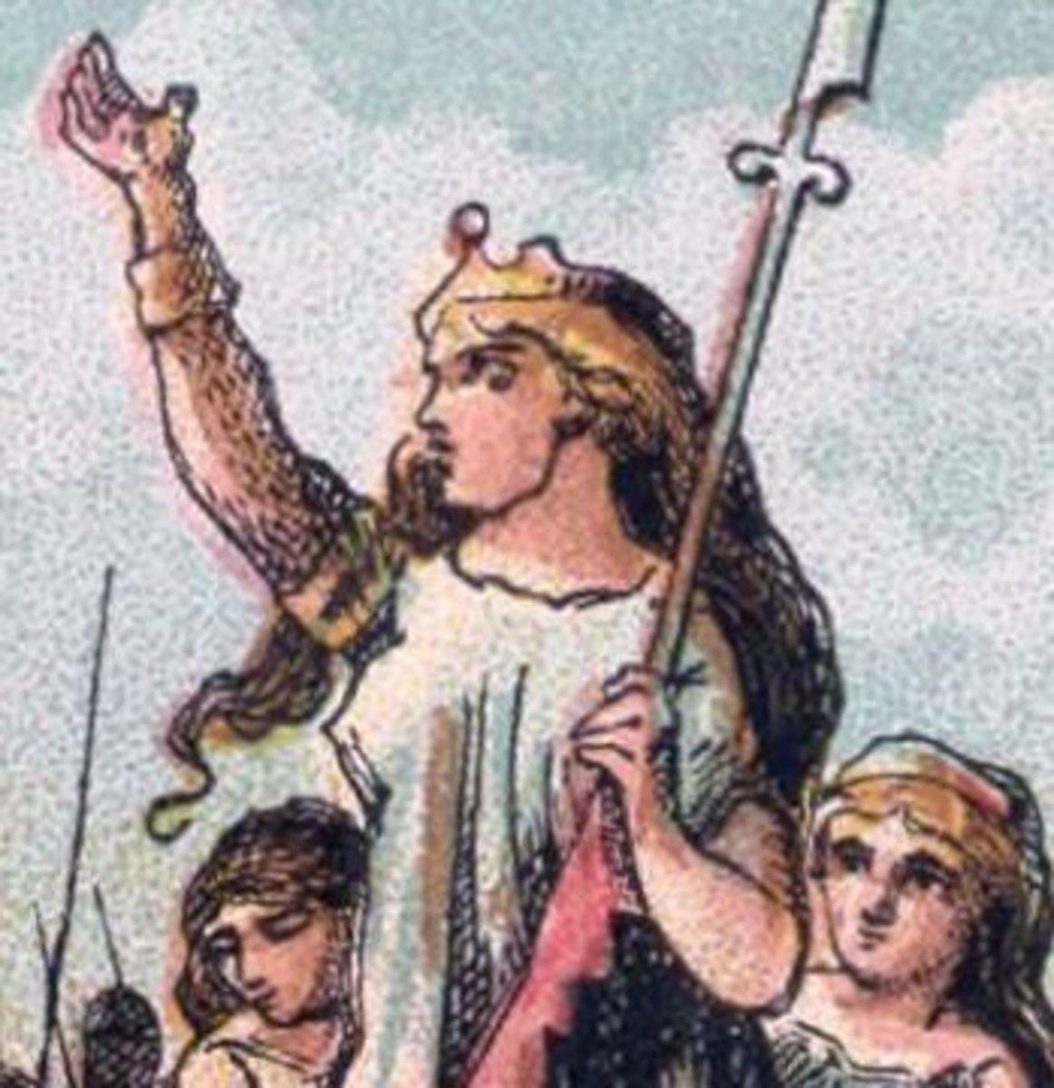 Boadicea rallying her troops.