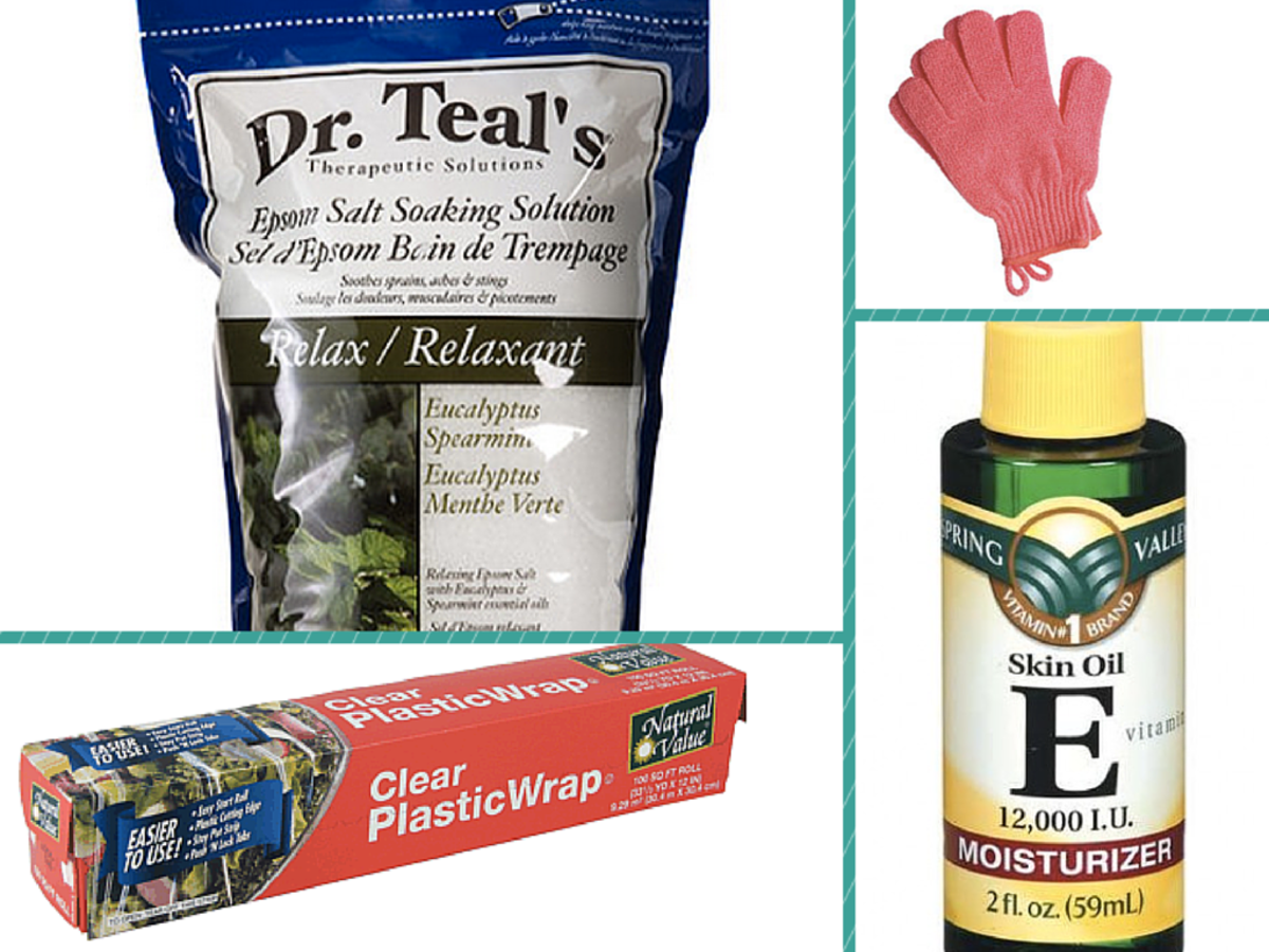 What you'll need: Epsom salts, plastic wrap, vitamin E oil, and an exfoliator of some kind.