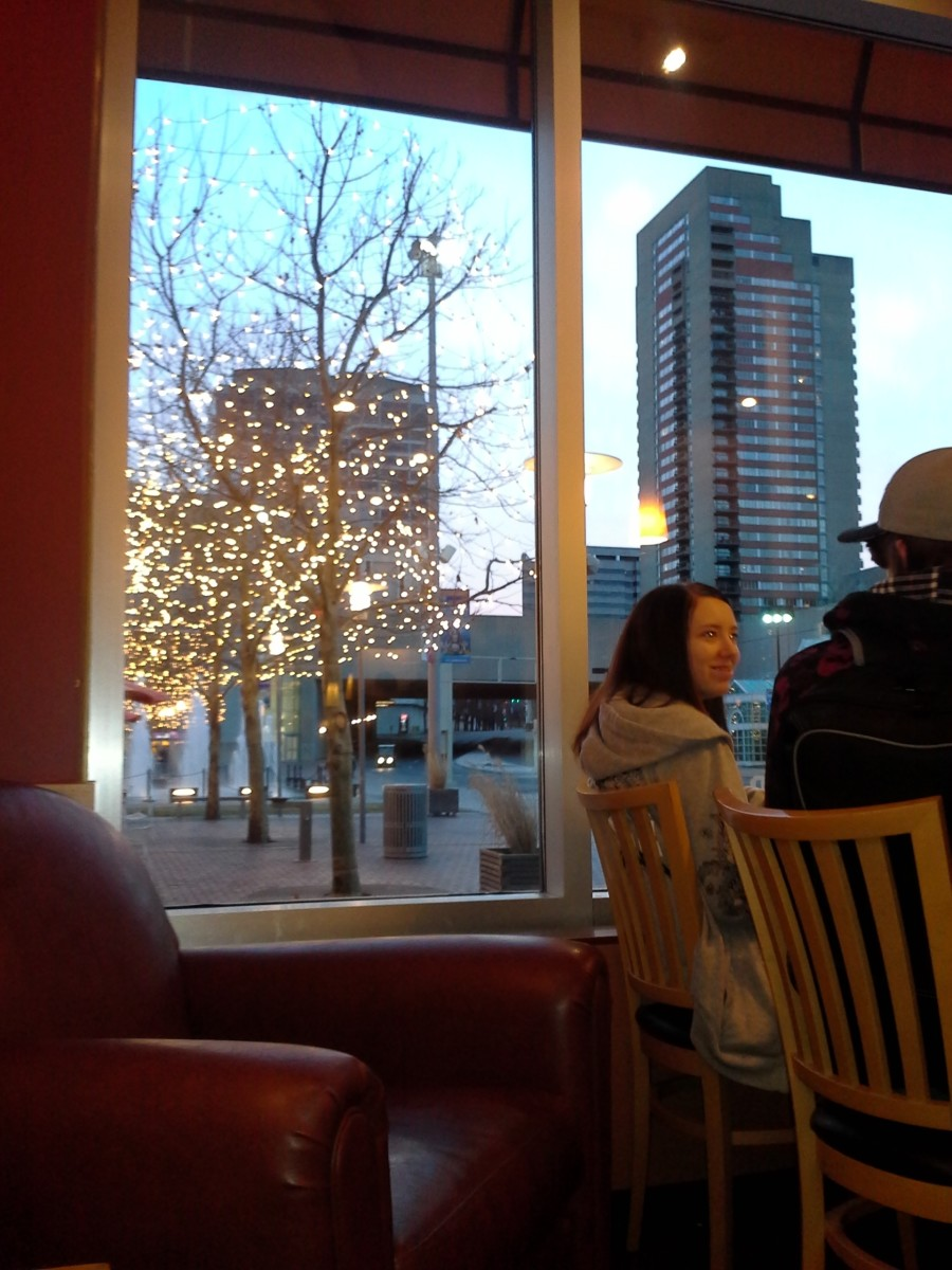 Inside Panera Bread, sipping hot stuff and warming up.