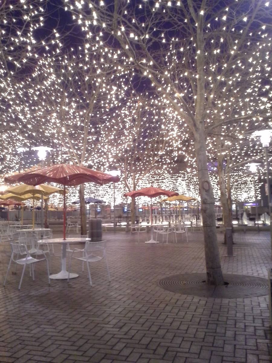 The wintery lighting between the Ice Terrace and Panera Bread.
