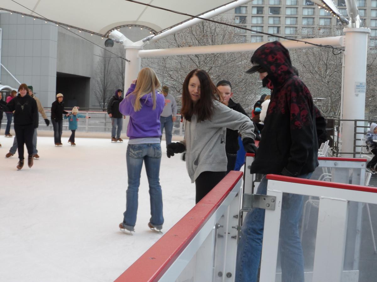 Her bestfriend and boyfriend hitting the ice