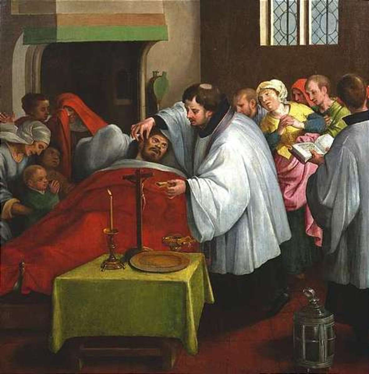Letzte Ölung, Dutch School, c.1600: Last Rites Oil on wood, 92 x 90 cm