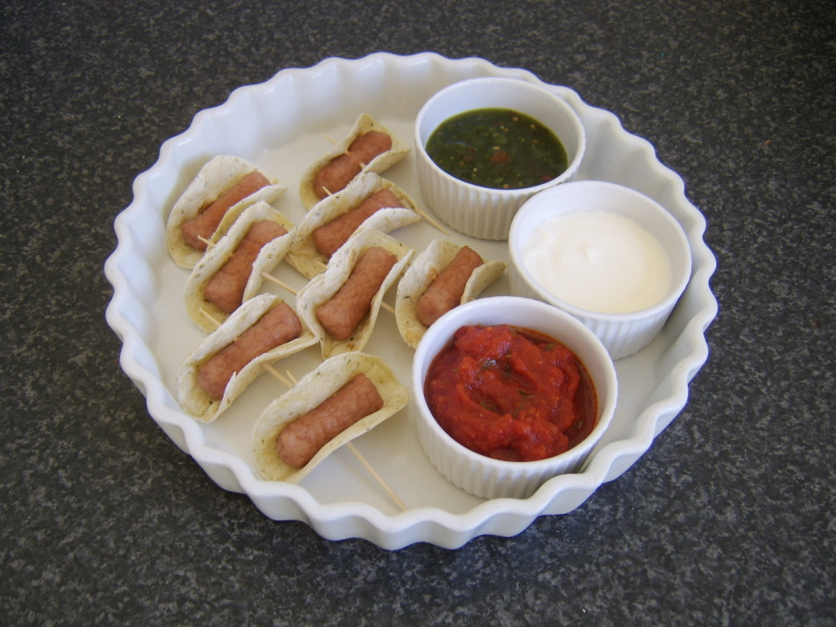 Cocktail sausage mini tacos and dip selection