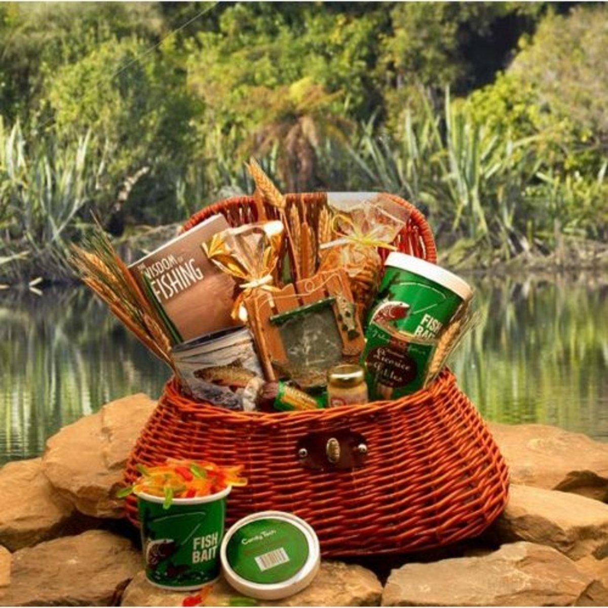 Reel It in Gourmet Fishing Creel Gift Basket | Great Fishing Gift Idea of Gourmet Snacks - perfect present for Father's Day for dads who love fishing