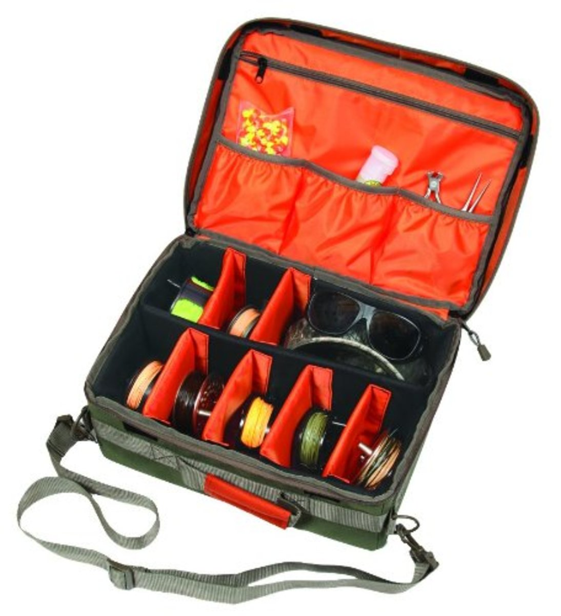 This Big Fork Fishing Reel and Gear Bag is perfect for dads who love the color red