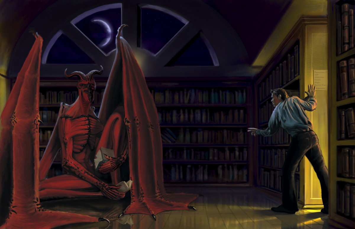 painting of a scene from the second half of the story where a character walks in on an Overlord reading in someone's house.