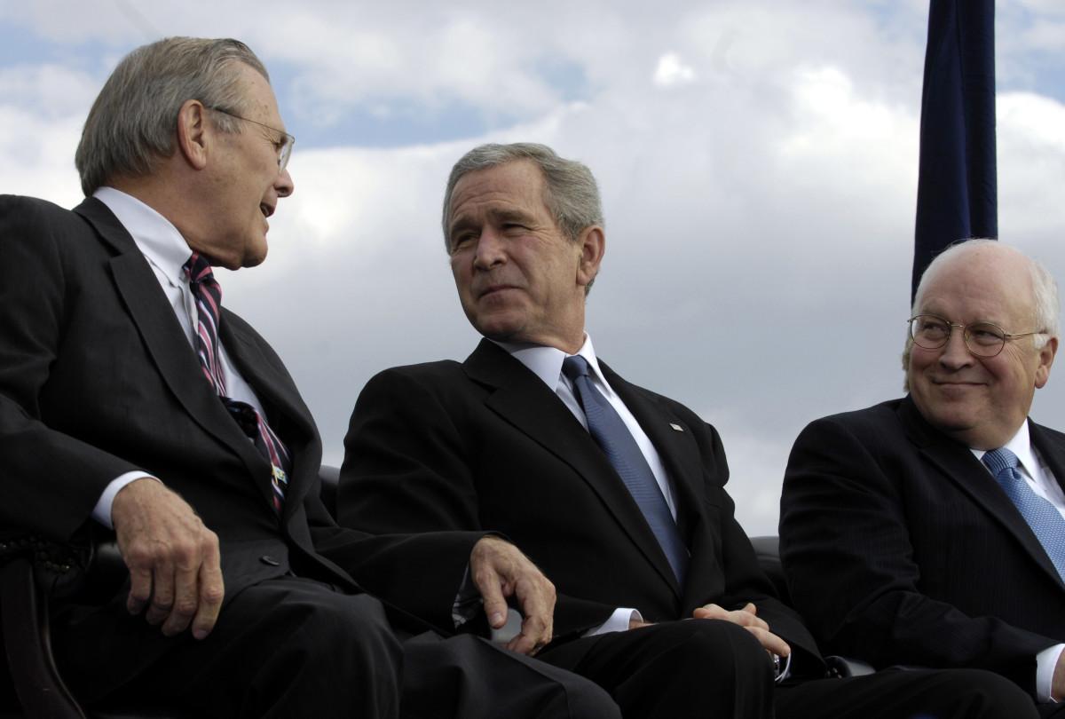 L to R: Secretary of Defense Donald Rumsfeld, President George W. Bush, and Vice President Dick Cheney