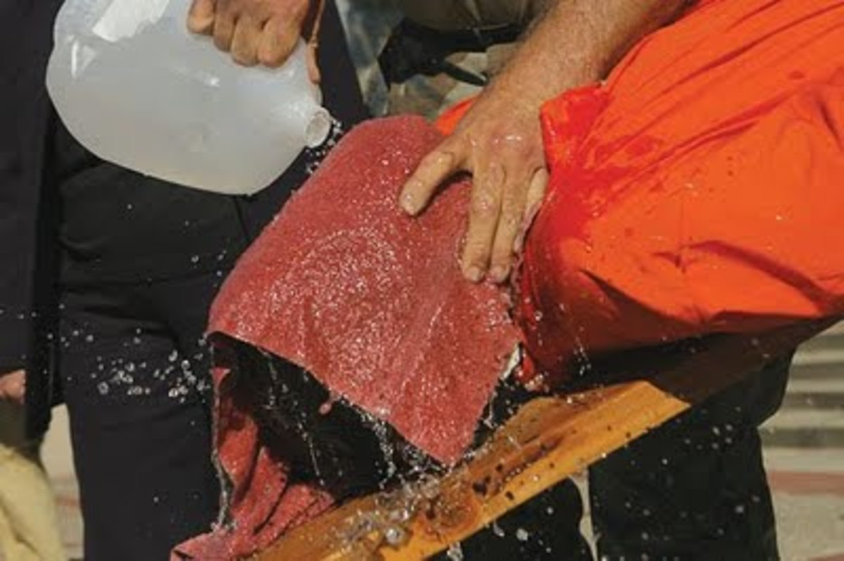 Waterboarding takes the person to the very point of drowning, whereupon he is revived and the process repeated.