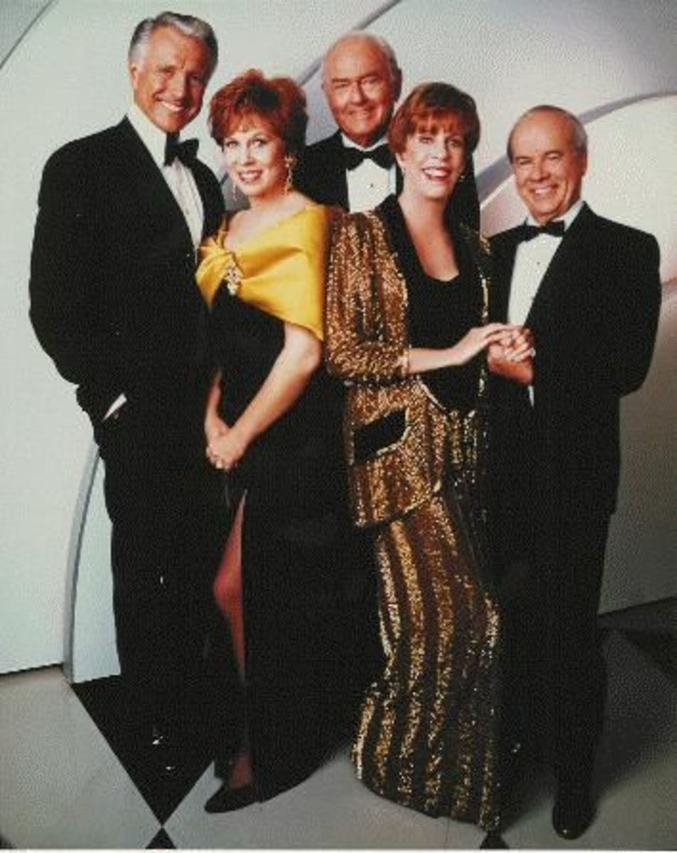 The Carol Burnett Show cast from left to right; Lyle Waggoner, Vicki Lawrence, Harvey Korman, Carol Burnett and Tim Conway