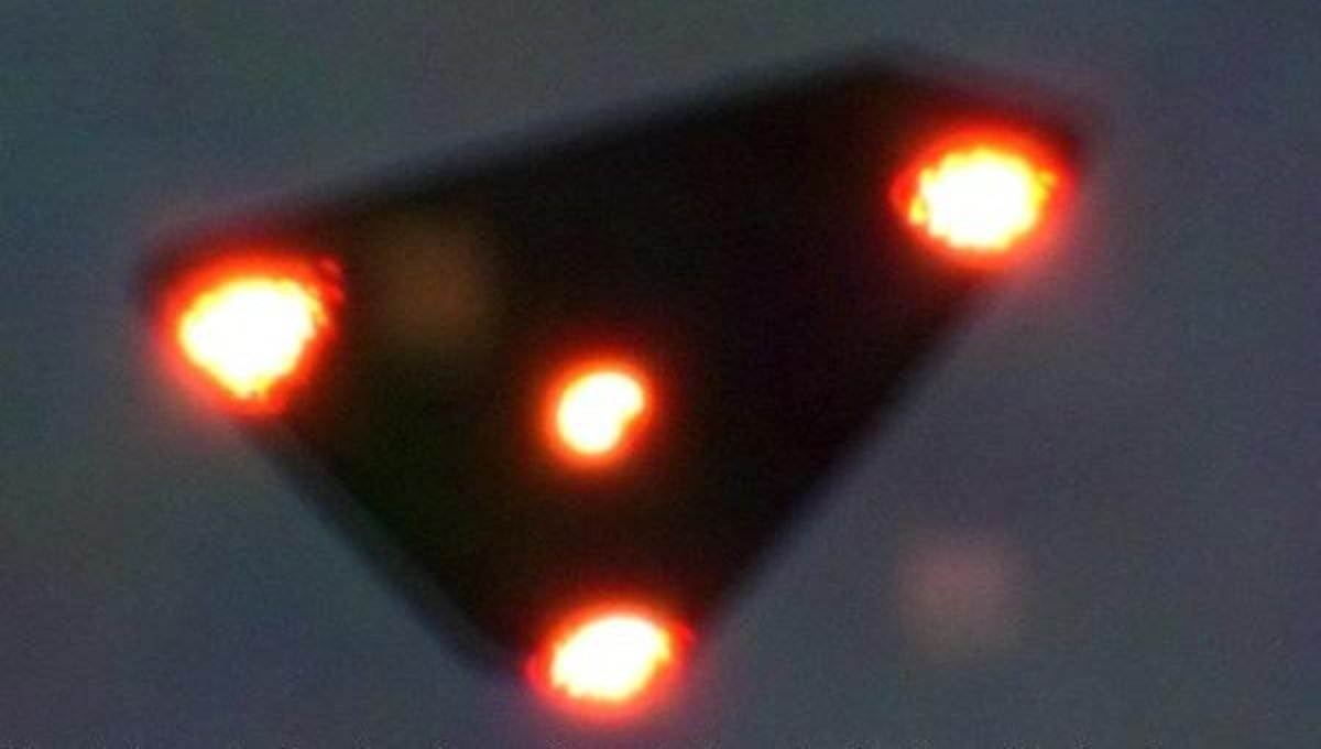 A picture of a triangle UFO taken over Belgium.