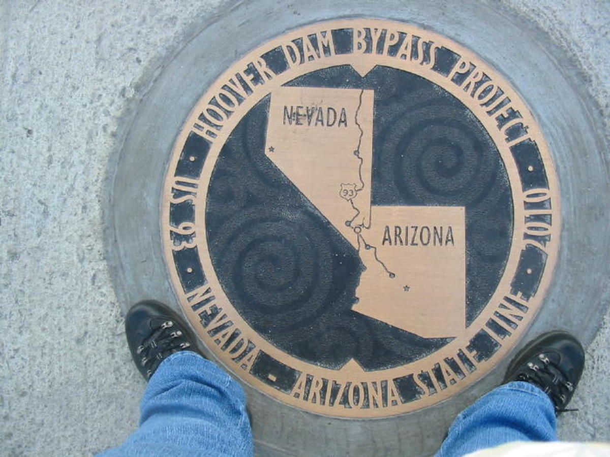 Yes, these actually are my feet... my left foot is in Nevada and my right one is in Arizona. Just don't ask me to decide which I like best, I can't decide! They are both beautiful states!
