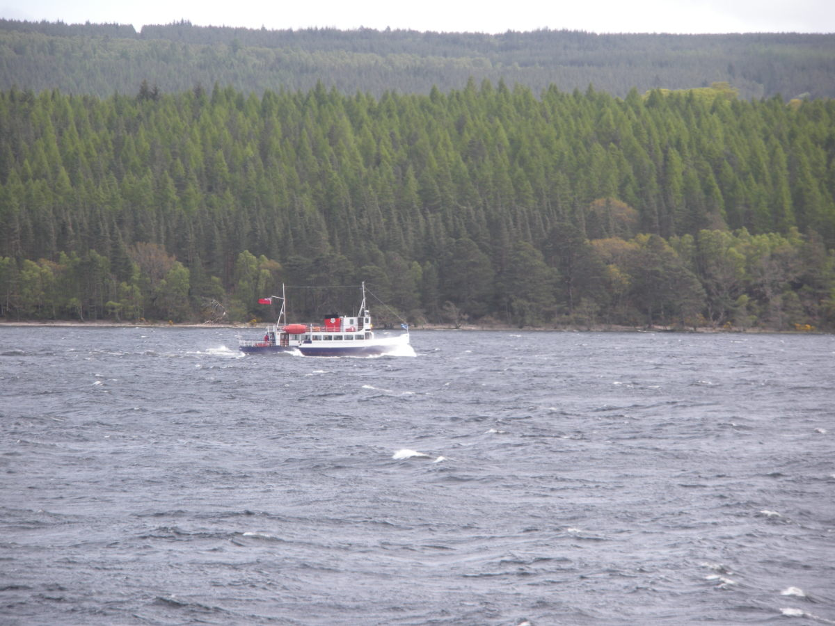 You can hop on a boat and take a cruise of the loch ... or you can watch the boat from the shore, and hope it is not dragging a net to capture the Loch Ness Monster!!