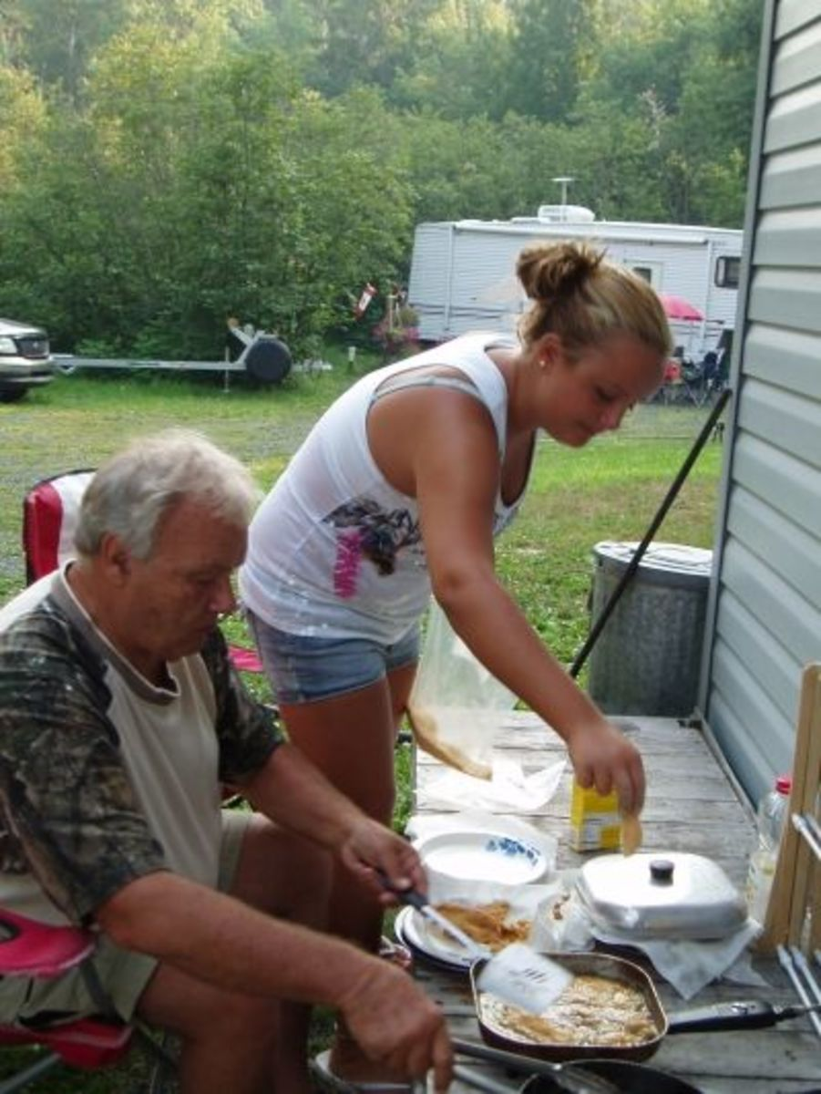 Cooking Fish at Camp