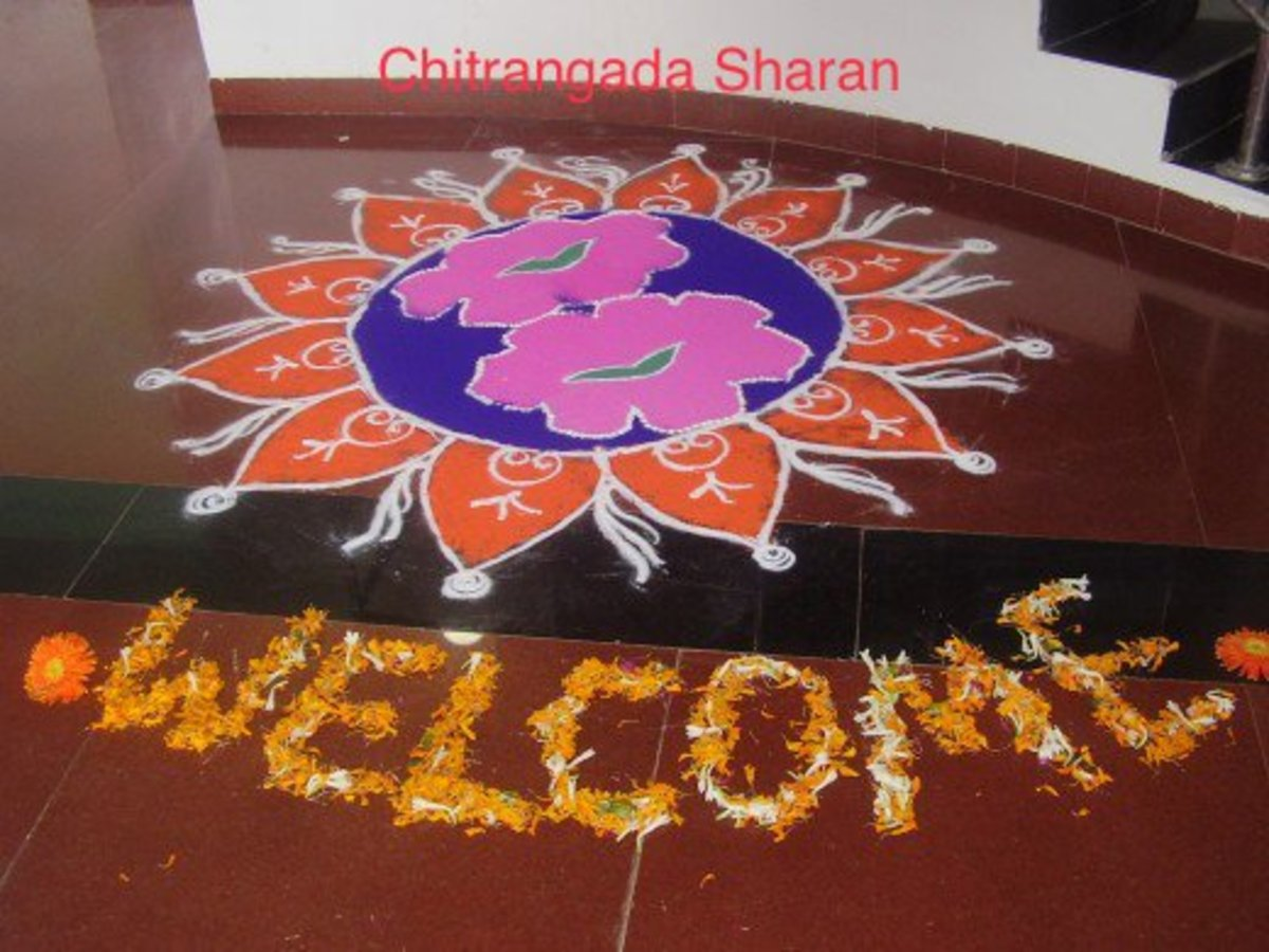 Rangolis are also drawn to welcome guests