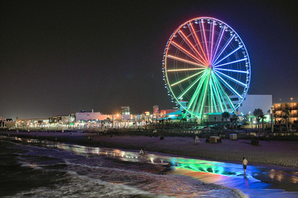 Myrtle Beach Boardwalk, Sky Wheel at Night