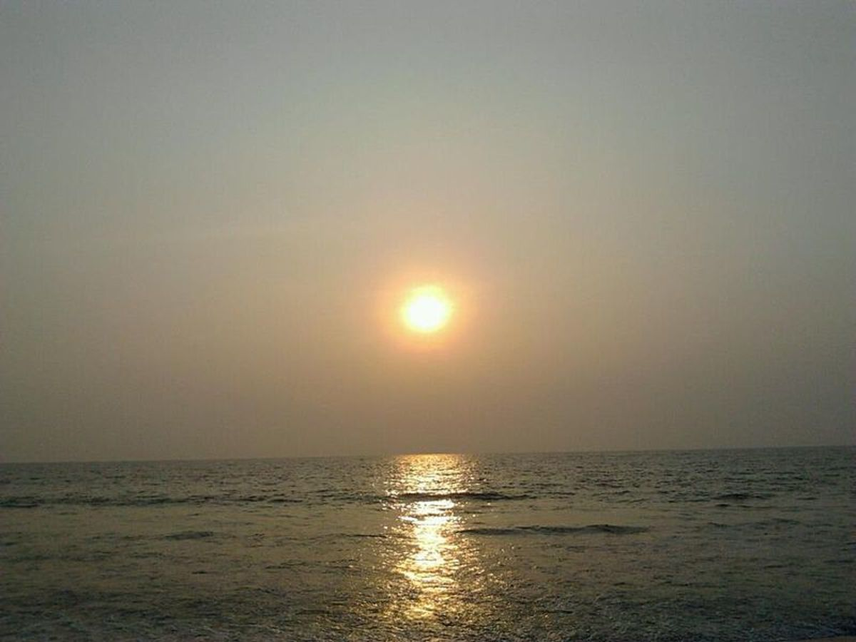 The breathtaking sunset in Kozhikode beach