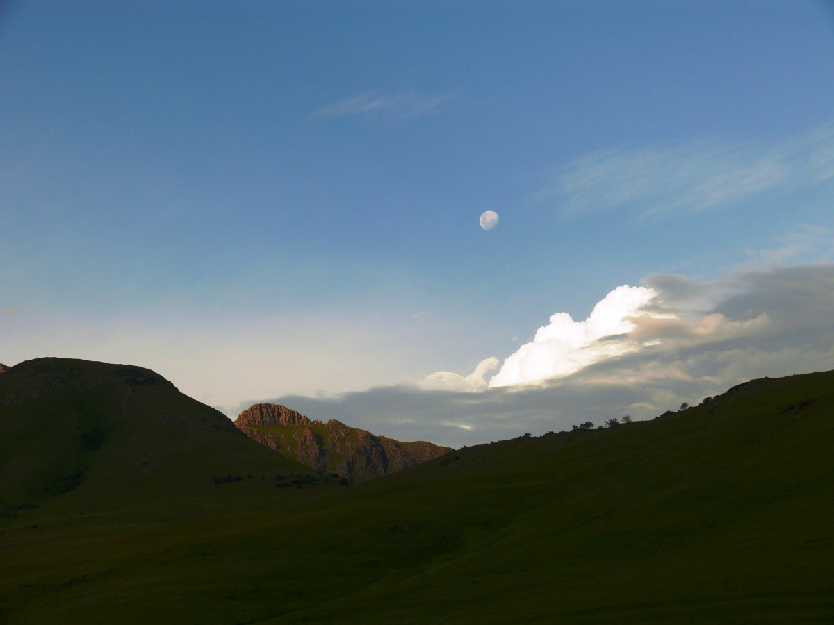 Lesotho Mountains with moon rising