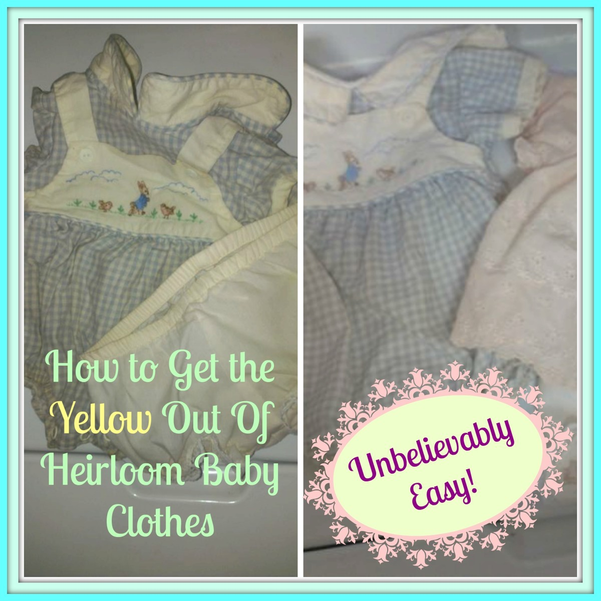 how to take the yellow stains out of heirloom baby clothes. Black Bedroom Furniture Sets. Home Design Ideas