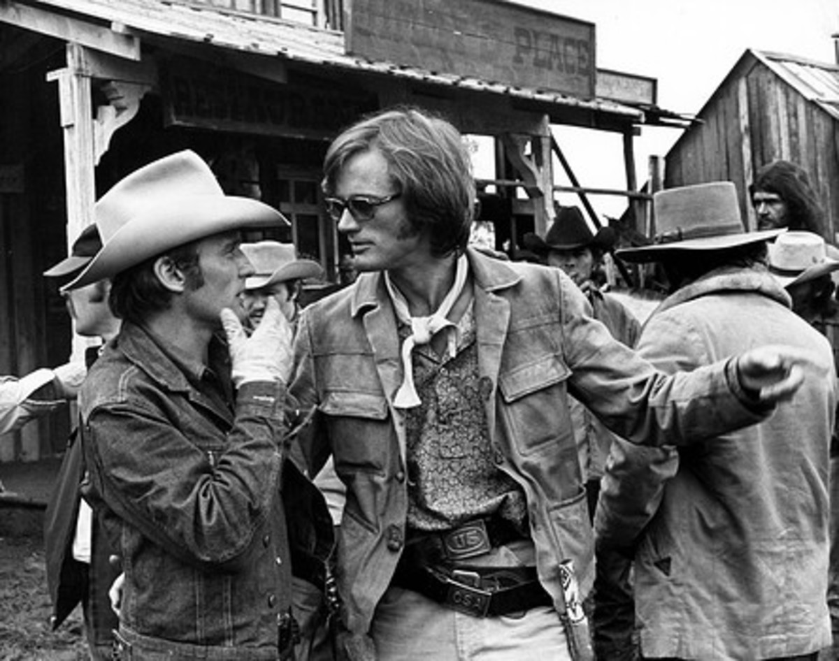 """Peter Fonda and Dennis Hopper on the set of """"The Last Movie"""""""