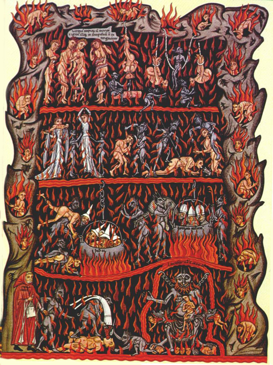 Illustration of hell as in hortus delicarium