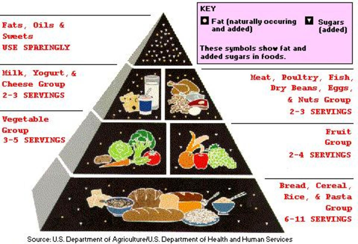 This food pyramid shows the basic food groups and how much consumption is required for a healthy diet.