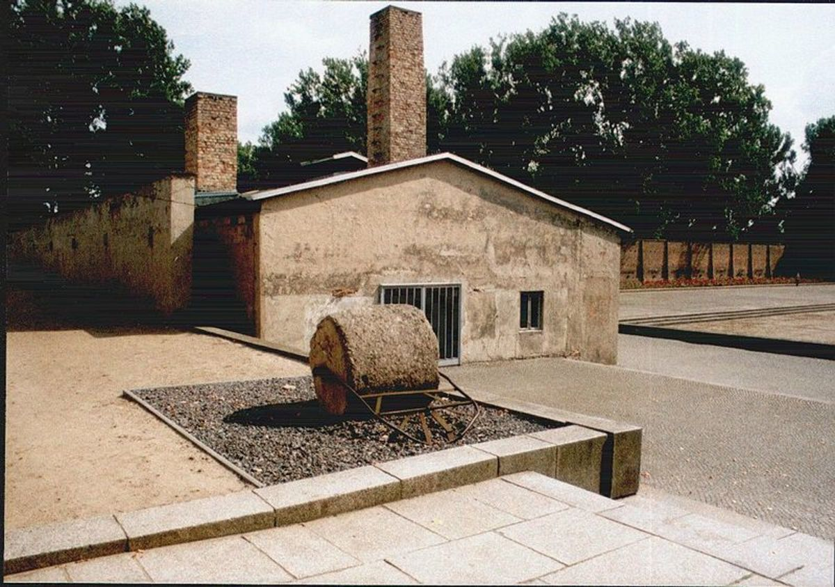 Picture of one of the crematoria and the road roller the women were forced to use.