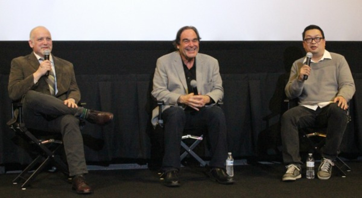 From left: RogerEbert.com editor Matt Zoller Seitz, film director Oliver Stone and Alamo Drafthouse Denver General Manager Walter Chaw. Photo by John Moore for the DCPA NewsCenter.