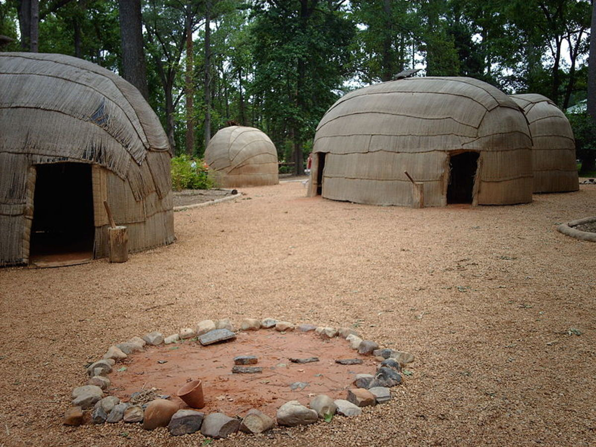 Reconstructed Powhatan village at the Jamestown Settlement living-history museum.