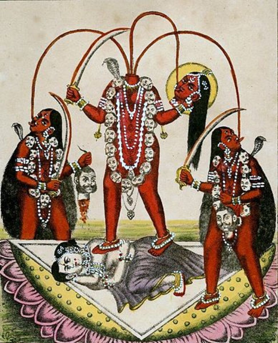 Image of Tantric ritual.  The symbolism includes decapitation (loss of ego), consumption of blood (intoxication) and sexual intercourse (dissolution of self and transgression of the pure/impure dichotomy).