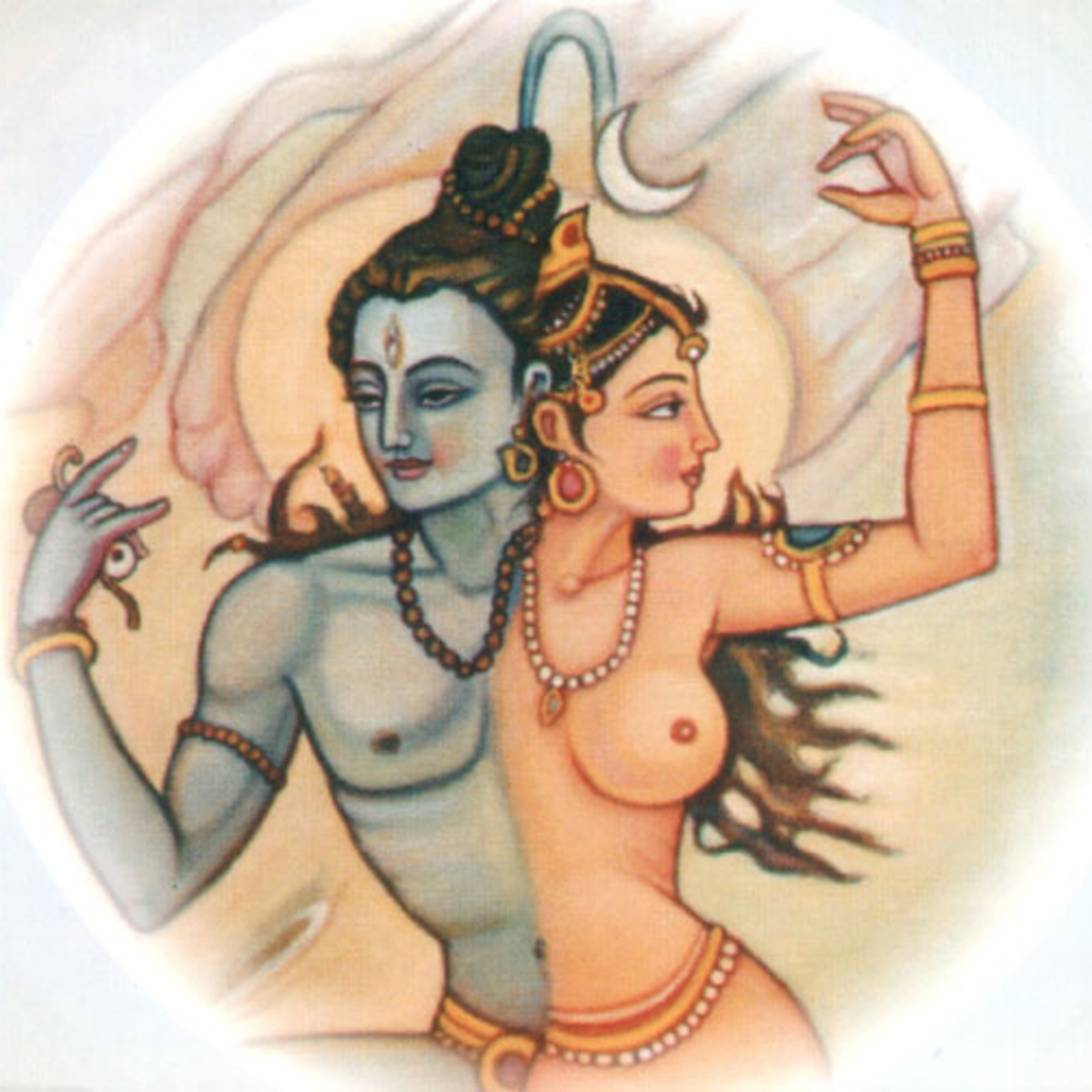 In Hindu conceptions fo the divine, the ultimate is composed of a male/female dyad.  Here Shiva is depicted as physically one with his Shakti.