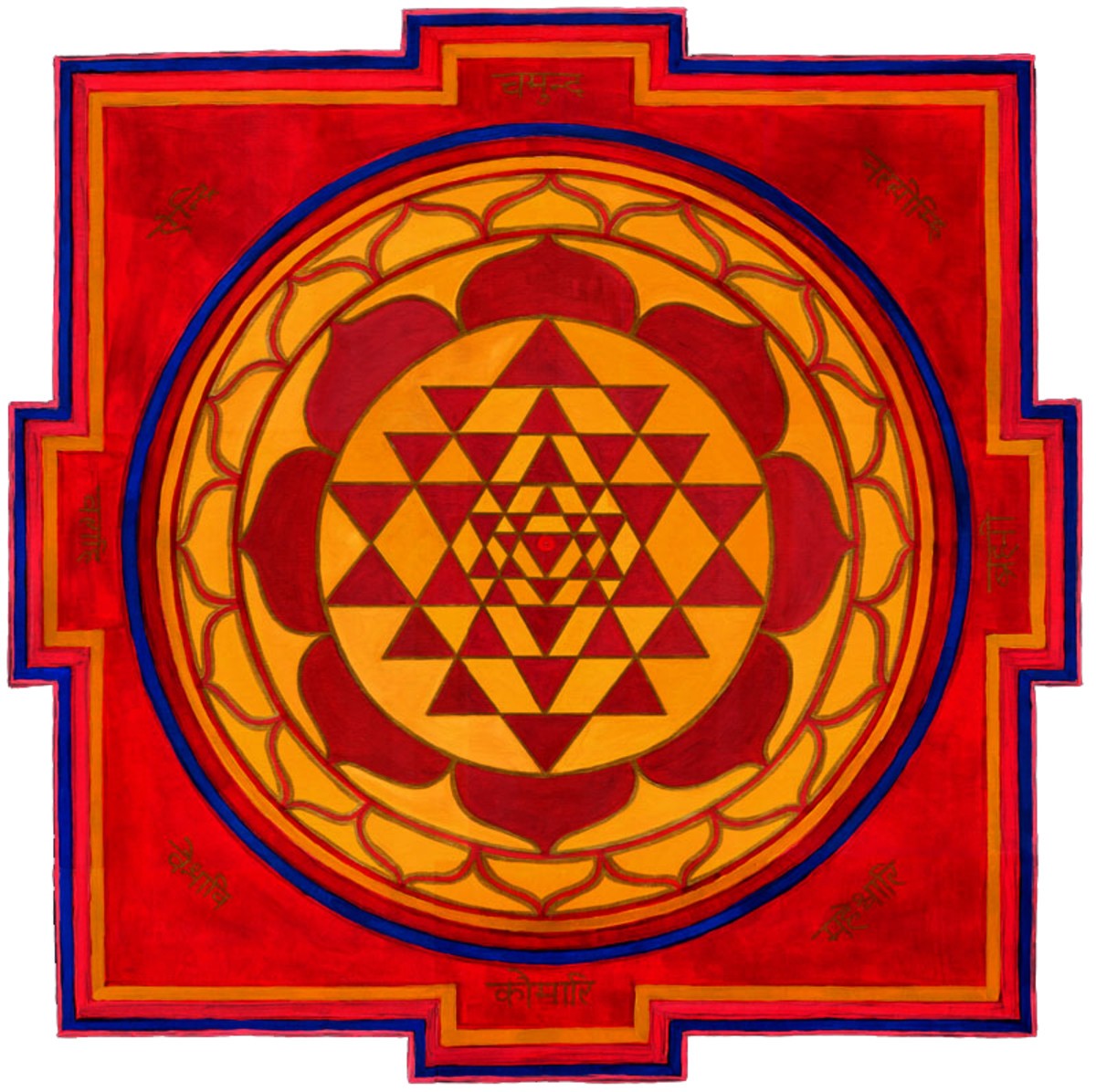 The classic image of the Sri Yantra, symbolizing the power of the Divine Feminine in Tantra