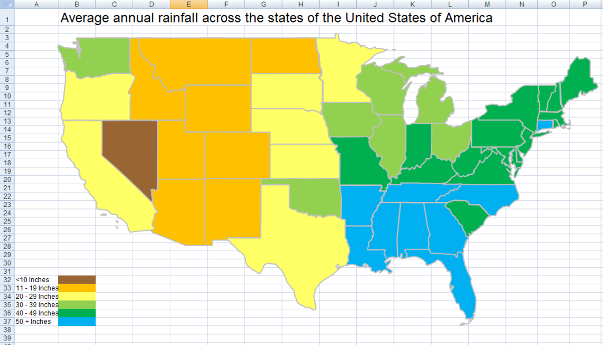 Thematic or Choropleth map in Excel 2007 and Excel 2010 showing annual rainfall across the United States.