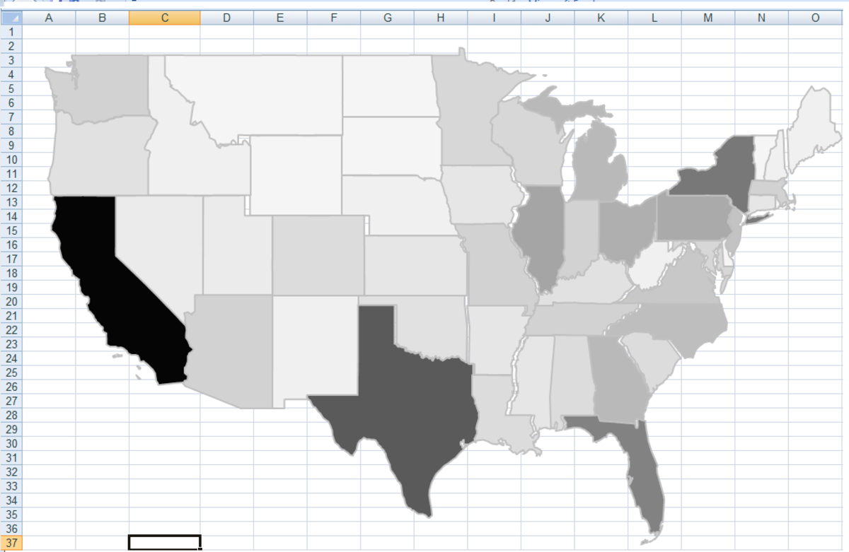 Ensure that the column widths are set exactly the same as the original spreadsheet to avoid gaps between states.