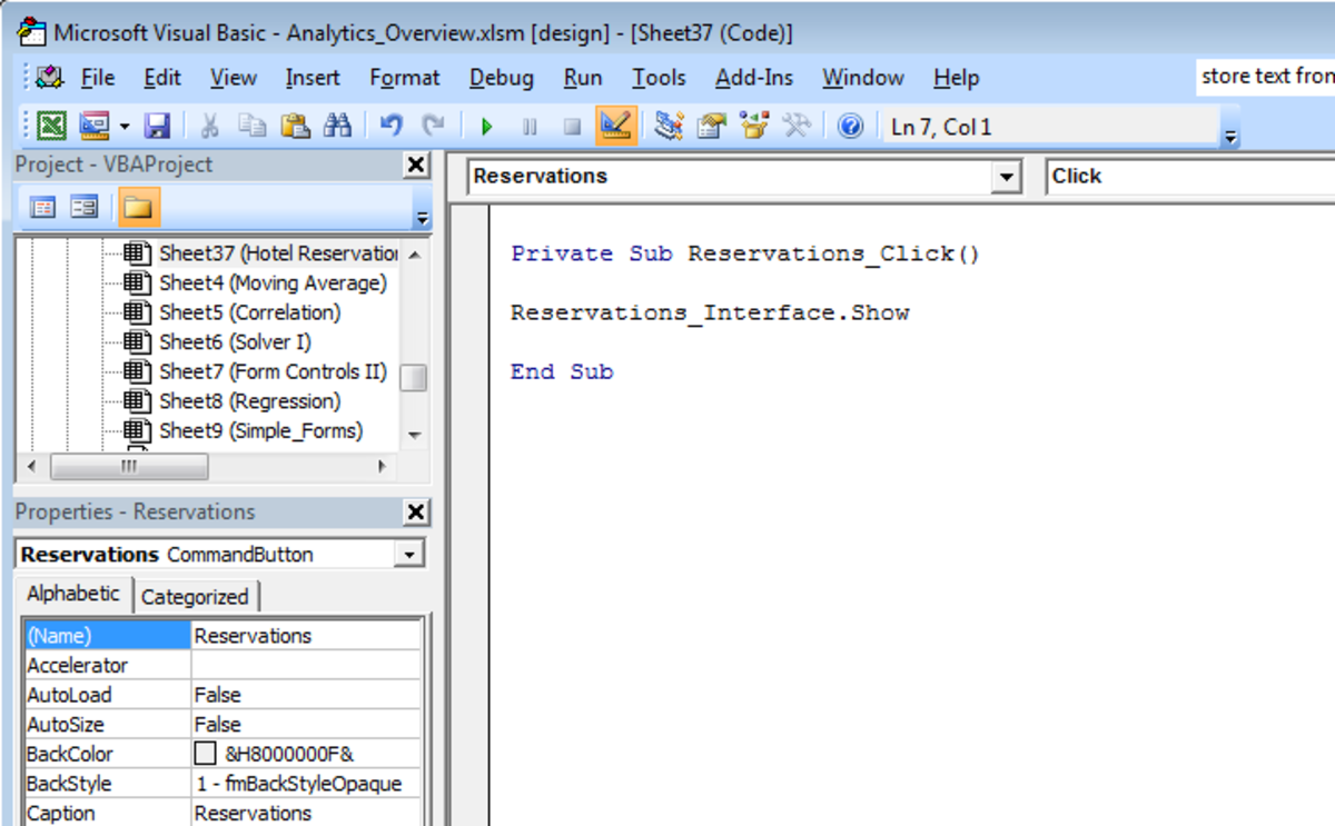 Visual Basic script used to configure a Command button to launch a UserForm in Excel 2007 or Excel 2010.