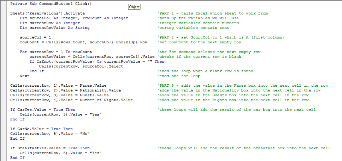 Visual Basic script used to configure a command button in a UserForm in Excel 2007 or Excel 2010.