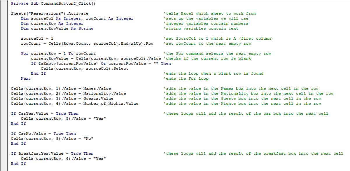 Visual Basic script used to configure a button to close a UserForm in Excel 2007 or Excel 2010.