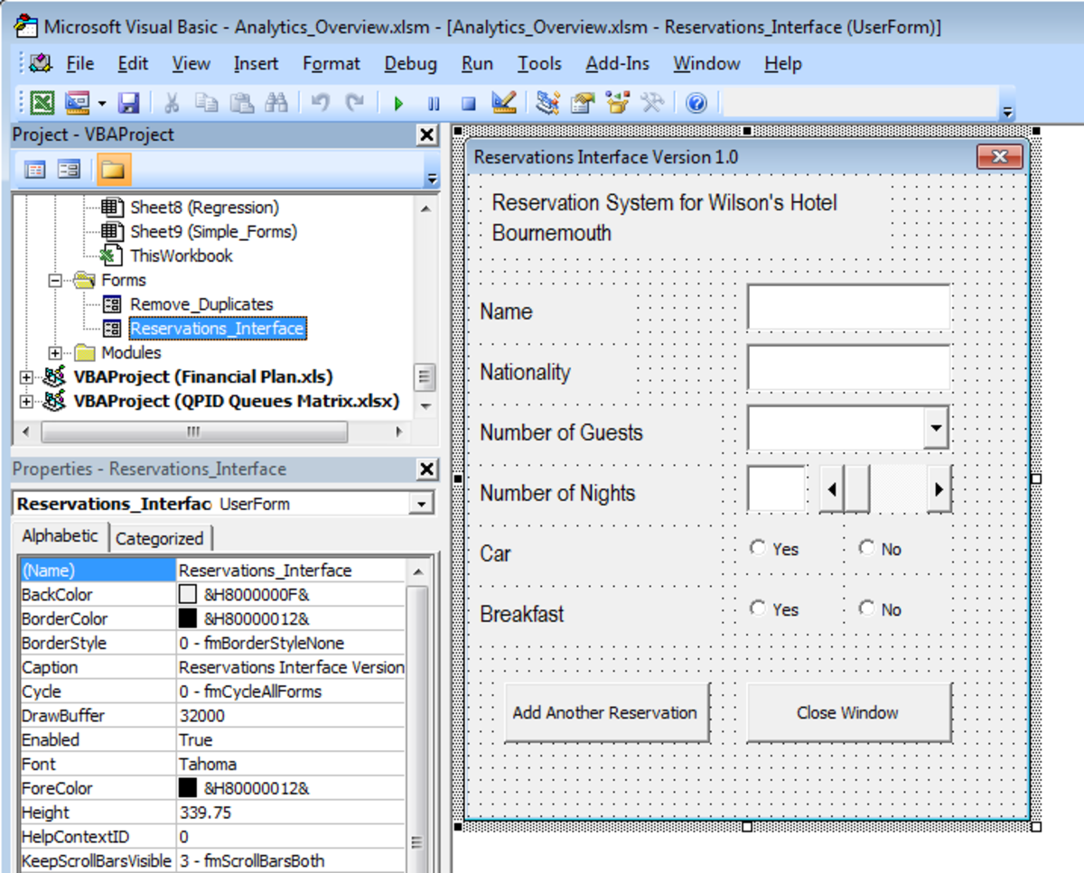 Adding Visual Basic code to a UserForm in Excel 2007 or Excel 2010.