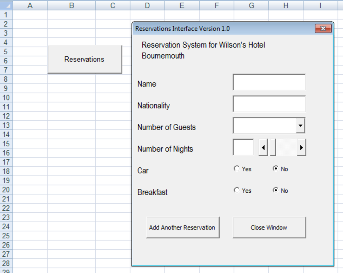 Example of a Hotel Reservation User Interface created with Visual Basic and a UserForm in Excel 2007 or Excel 2010.