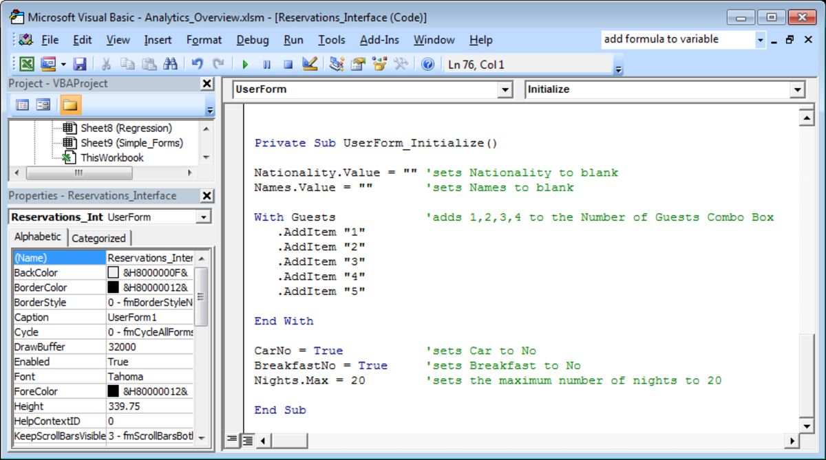 Initialisation script for a UserForm created in Visual Basic in Excel 2007 or Excel 2010.