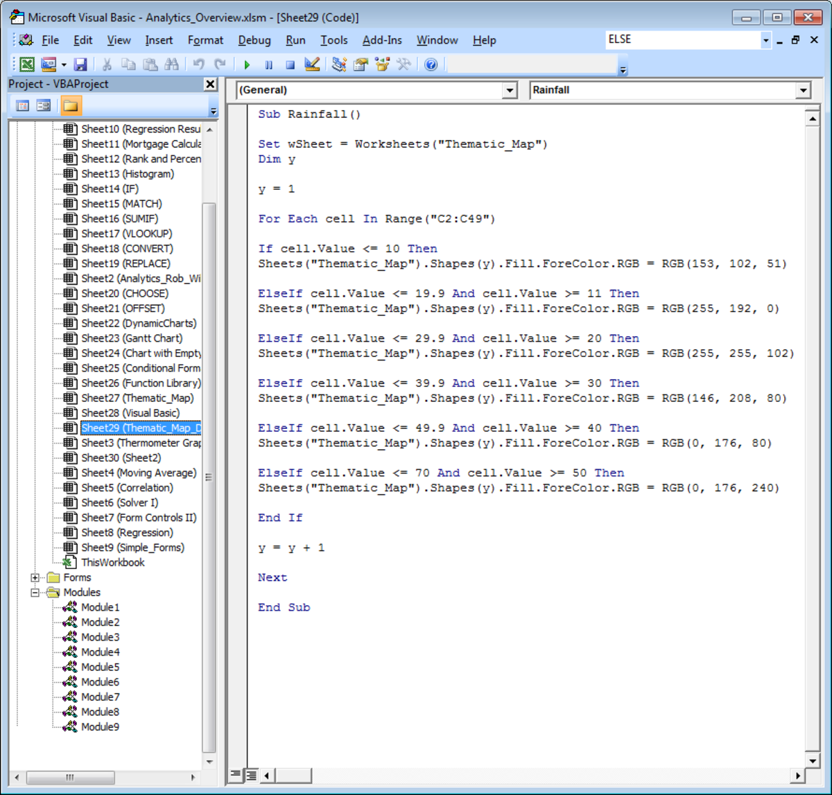 Example of using the ELSEIF Visual Basic command in Excel 2007 and Excel 2010.