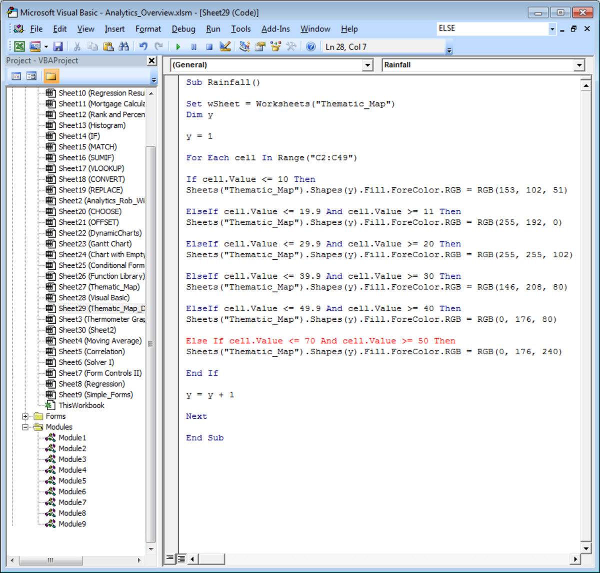 ELSE and IF cannot be used in the same line of Visual Basic code in Excel 2007 and Excel 2010.